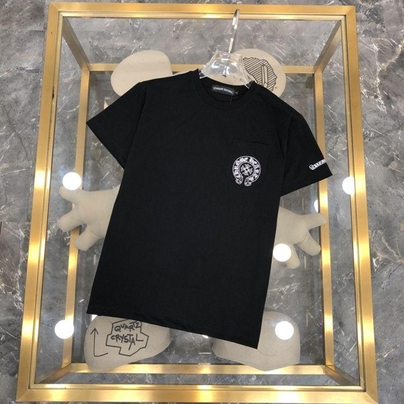 Marka Klasik Yeni Ch Chunxiachao Cro Sanskriti Çapraz Sıcak Damgalama Kısa Kollu Yuvarlak Boyun T-shirt Erkekler ve Kadınlar için HGEF
