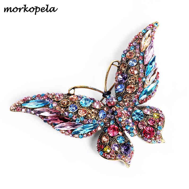 Cristal Morkopela Big Pin Borboleta Broche Broches Luxo Para Mulheres Partido Banquete Rhinestone Pins Clothese AC