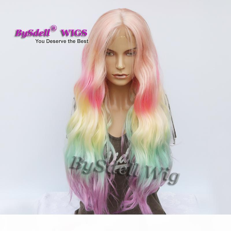 Mode Lange Lose Wellenförmige Haare Perücke Pastell Ombre Rainbow Farbe Keine Lace Lace Front Perücke African American Cosplay Drama Party Perücken