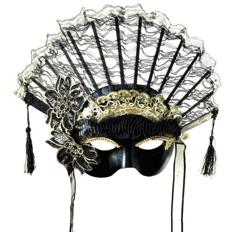 H3419 Kadın Fan Maskesi Parti Cadılar Bayramı Noel Festivali Moda Maskeleri Kadın Venedik Karnaval Masquerade Cosplay Aksesuarları