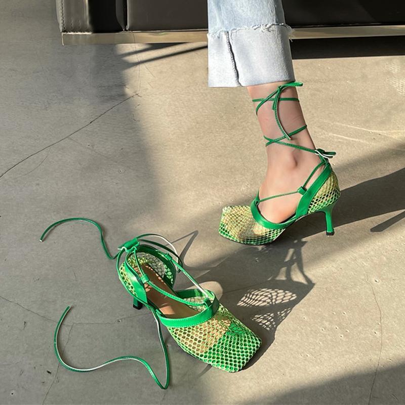 Sexy Fersen 2021 Quadratzehen Mesh Damen Pumps Weiße StrapPer Designer Schuhe Grün Hohe Hakken Schoenen Vrouw Kleid