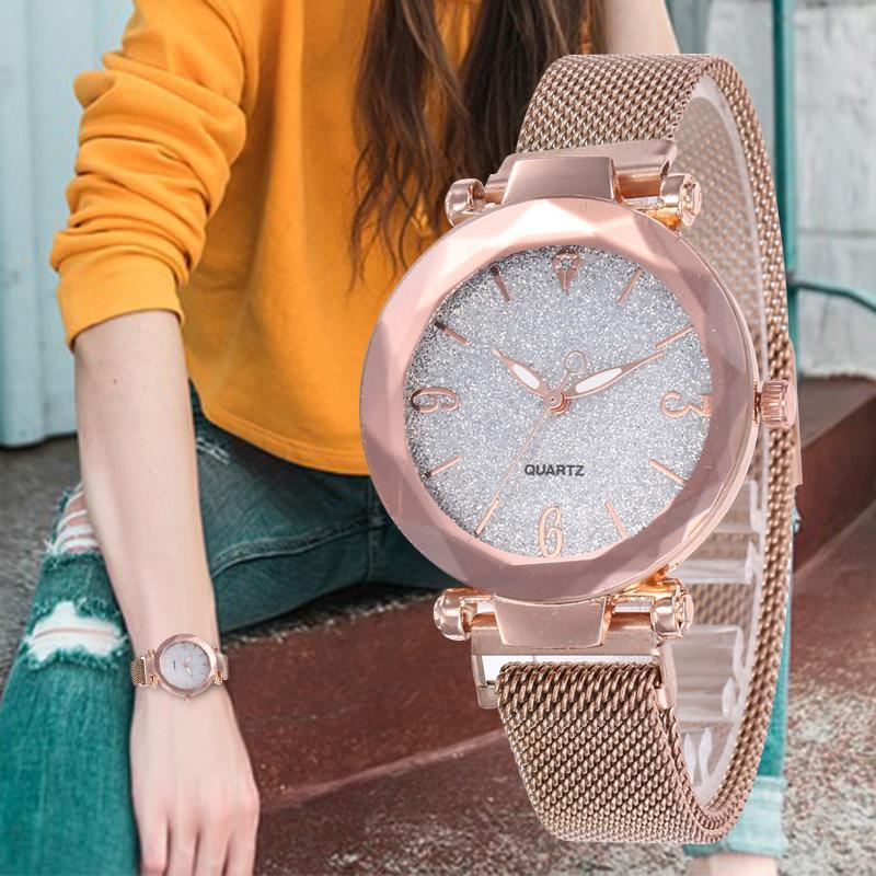 Montre-bracelet WJ-8084 Mode Femmes Montres simples Montres Analog Quartz Horloge Horloge Maison Magnétique Luxe Rose Gold Bracelet brillant Saati Saati