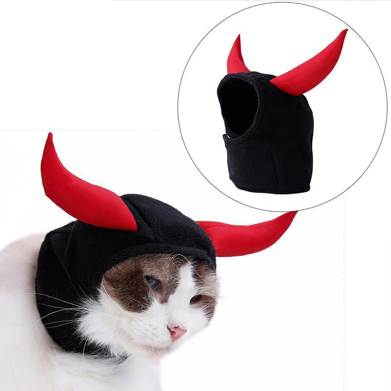 Funny Cute Pet Costume Cosplay Bull Horn Hat Cat Halloween Xmas Year Product Fancy Cap Small Dogs Accessories Costumes