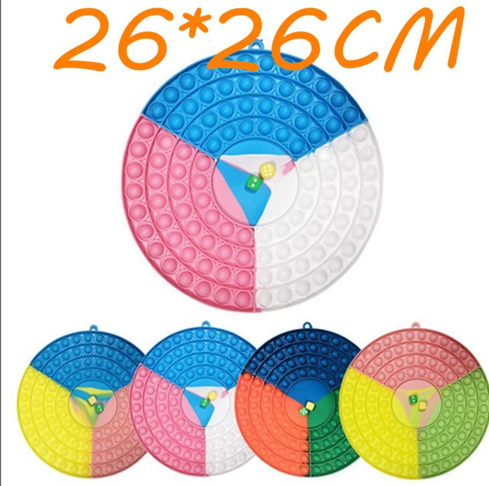 Étonnante!!! 26 * 26cm Big Round Fidget Toys Toys Toys avec 2 Dices Party Favor Faveur arc-en-ciel Silicone Stress Stress Relever Dimple Sensory Jouets