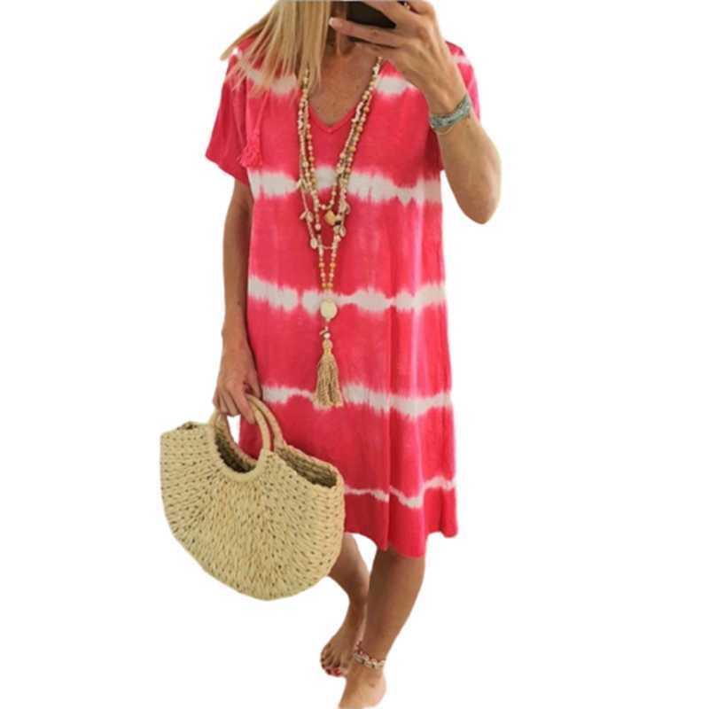 Casual Tie Fye Dress Kurzarm Damendruck Kleider Sommer V-Ausschnitt Lose Boho Sun Beach Kleid Plus Größe Falda de las Seoras y0603