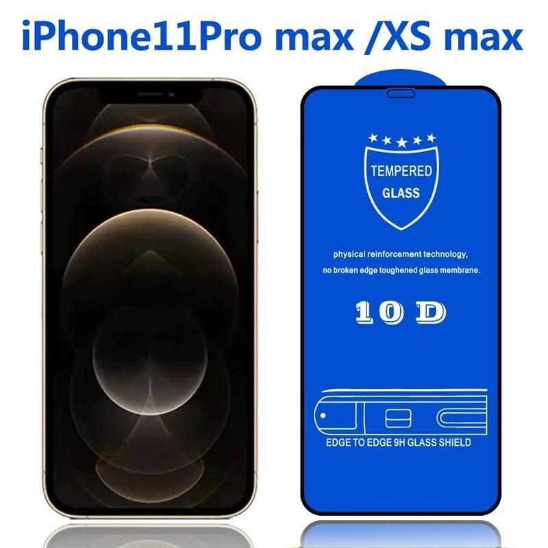 For iPhone 12 mini 12 pro max 11 X Xs Xr 8 7 6s 10D Full Cover 9D Screen Protector Tempered Glass with 10 in 1 box package
