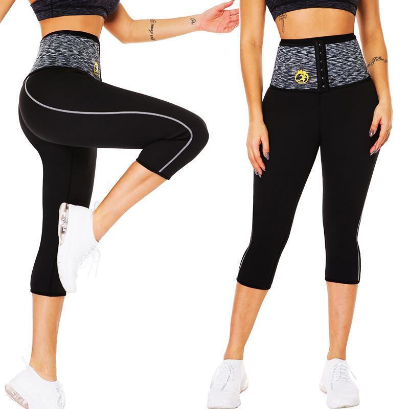 Lazawg mulheres calças de suor quente neoprene sauna suor shorts cintura treinador corpo shaper cintura com gancho treino curto controle calcinha 210326