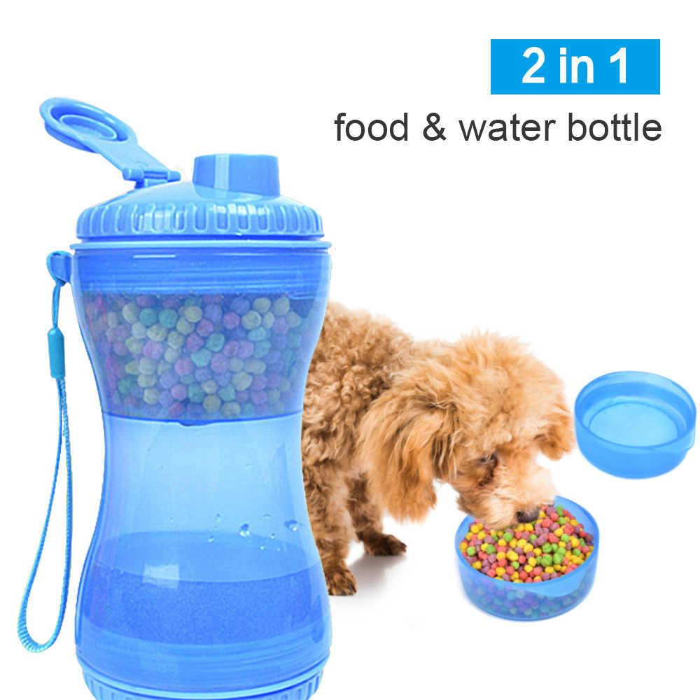 2 in 1 Pet Water Bottle For Dogs & Cats Food Cup er Outdoor Walking Storage Feeder 210615