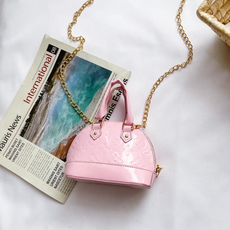 Çocuk Çanta Kabuk Çanta Moda Bahar Gelgit Kız Kore Versiyonu Patent Deri Parlak Mini Taşınabilir Crossbody Zincir Çanta