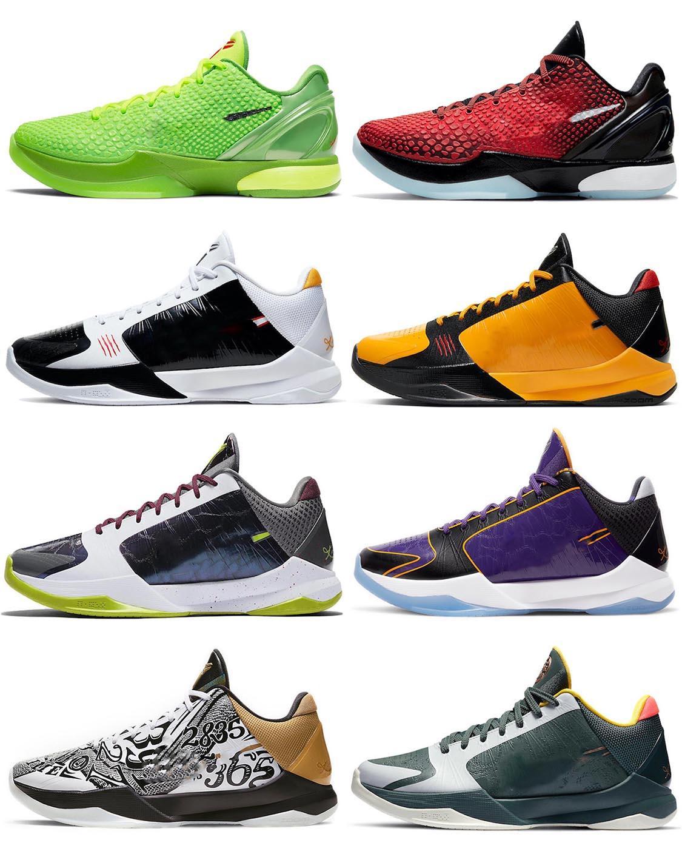 2021 Otantik Noel 6 Protro Grinch Ayakkabı Mamba Yeşil Elma / Volt-Crimson-Siyah Adam Orijinal Kutusu ile Açık Spor Sneakers