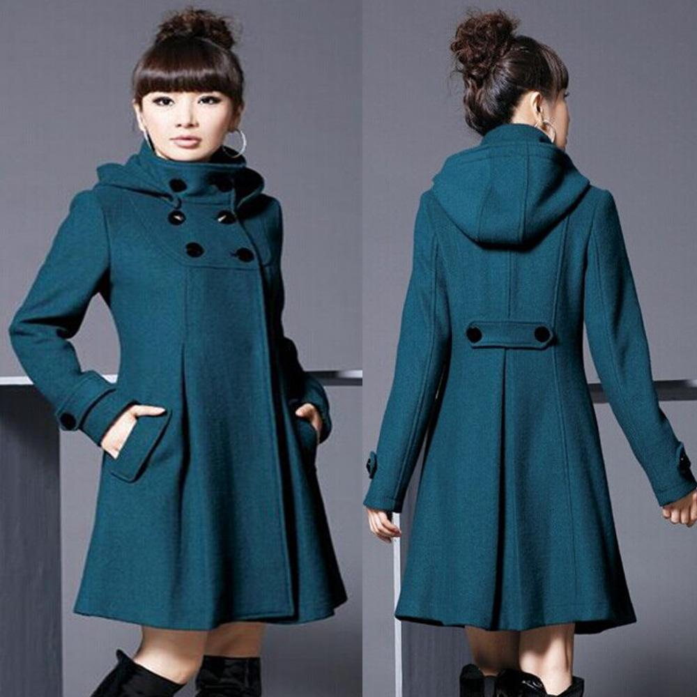 Capa de lana de mujer con capucha de doble longitud con capucha Cabo Doble Breasted