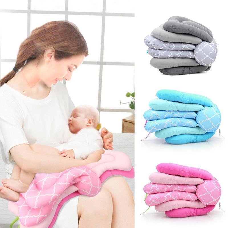Almofada multifuncional de enfermagem infantil alimentação ajustável bebê acessórios cinza azul e rosa multi-cor 70x26x17cm travesseiros