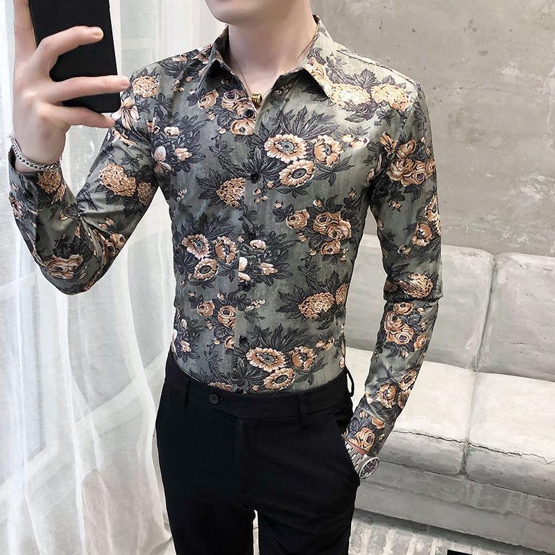 Luxury Gold Printing Shirt 2021 Autumn Short Sleeve Fashion Designer Party Club Prom Stylish Slim For Men Men's Dress Shirts
