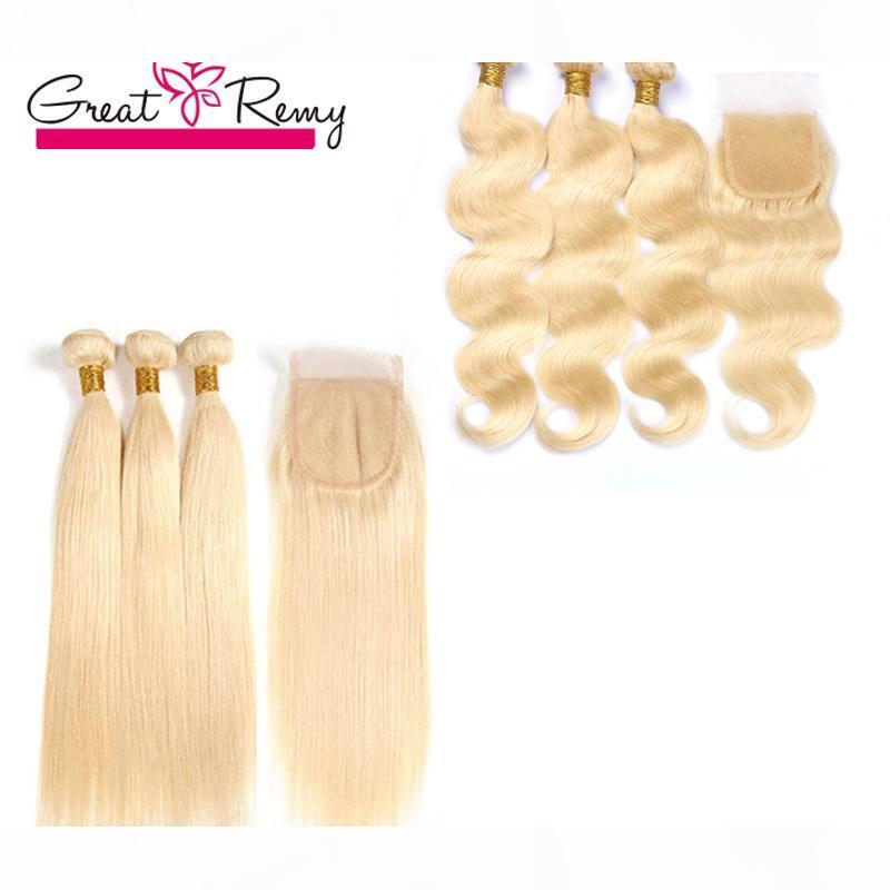 Honey Blonde 613 Human Hair Haite Weave Indian Wavy E Wavey Wave Wave 3pcs Virgin Hair Bundles con 613 Chiusura Greatremy Fabbrica personalizzabile