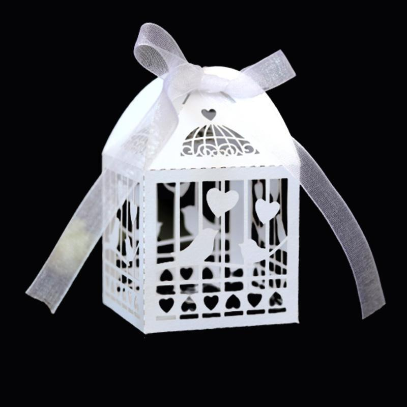 100 adet Aşk Kalp Kuş Lazer Kesim Düğün Iyilik Hediyeler Kutusu Şerit Ile Bebek Duş Ile Boş Şeker Kutuları Bebek Duş DIY Parti Dekor Hediye Paketi