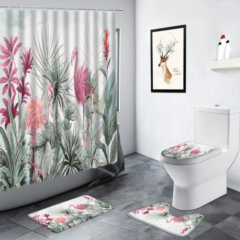 Chuveiro Cortinas Tropical Planta Folhas Flamingo Cortina Palm Folha Monstera Natural Cenário Cenário Decoração antiderrapante Rug Tapete Banheiro