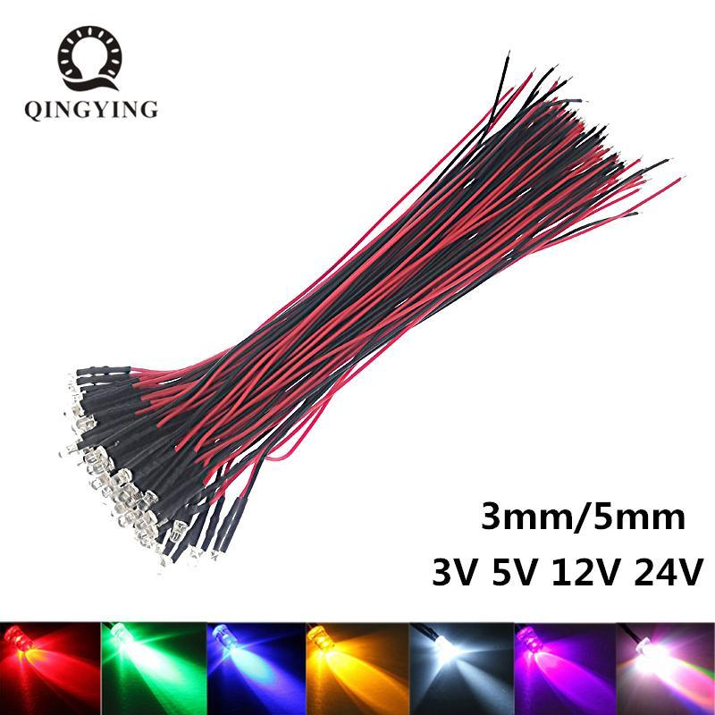 가벼운 구슬 50pcs 3V 5V 12V 24V DC 3mm 5mm 물 명확한 다이오드 레드 / 그린 / 블루 / 옐로우 / UV / 오렌지 / 핑크 / 워밍 / 화이트 / RGB 사전 유선 20cm 케이블