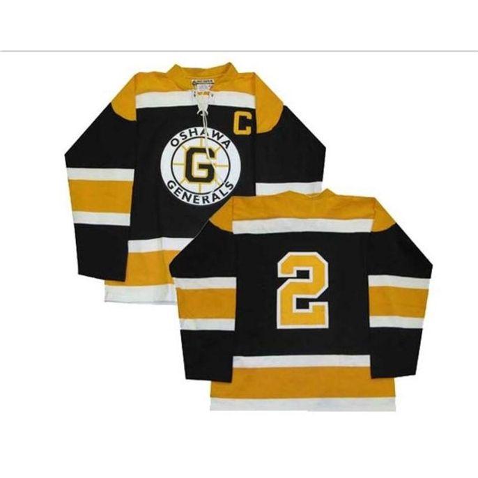 Bay Personnaliser Chl Oshawa Generals OHL 2 Bobby Orr Hockey Jersey Black Broderie Hockey Jersey ou personnalisé N'importe quel maillot de nom ou numéro rétro