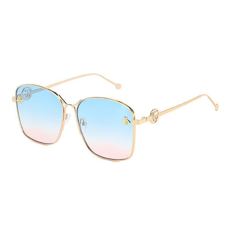 Güneş Gözlüğü 2021 Lüks Arı Moda Kadınlar Erkekler Için Kare Marka Tasarım Güneş Gözlükleri ulculos Retro Erkek Demir