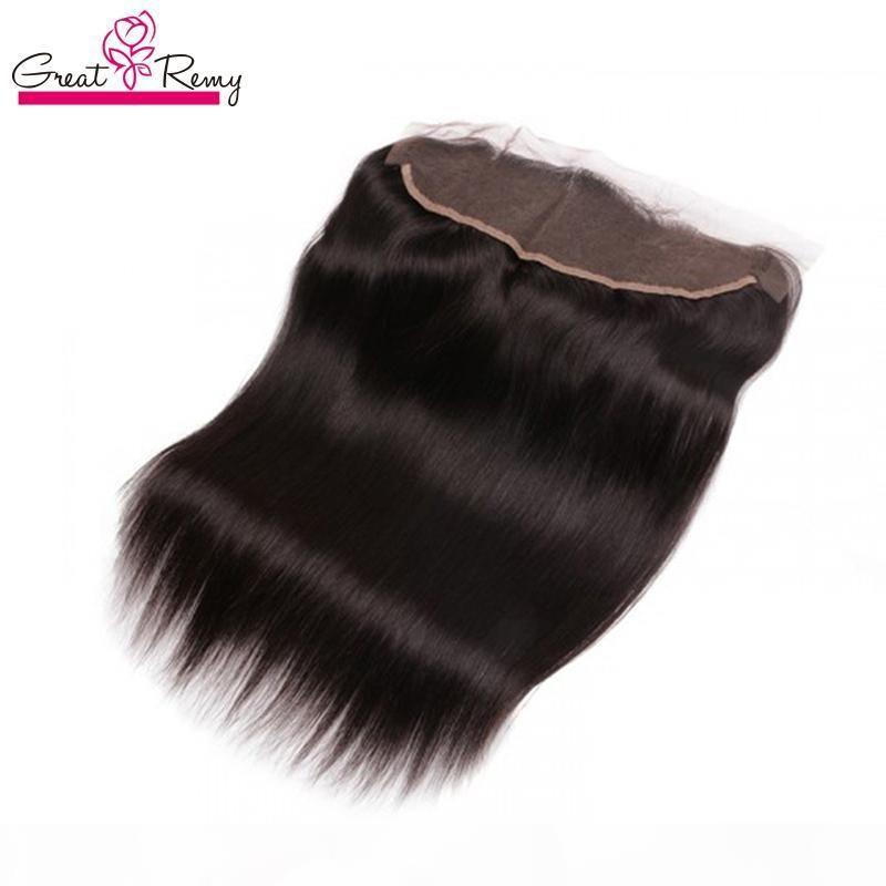 GREATREMY? 13x2 orelha para orelha Brazilian Virgin Hair Lace Frontal Hairpieces Fechamento Cabelo Humano Seda de Seda 8-20inch Cor Natural