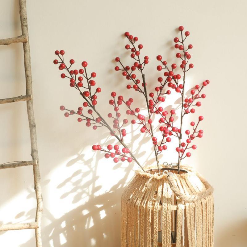نباتات نباتات اصطناعية حمراء الفاكهة عيد الميلاد acacia حبة حمراء زهرة ديكور المنزل ترتيب زخرفة الزفاف