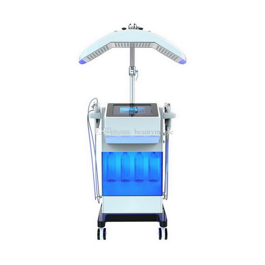 8 em 1 Diamante Hydrafacial Dermaabrasão Oxygen Jet Peel Scrubber Scrubber Bio Face Levante máquina de ultra-som com 7 cores PDT LED Light