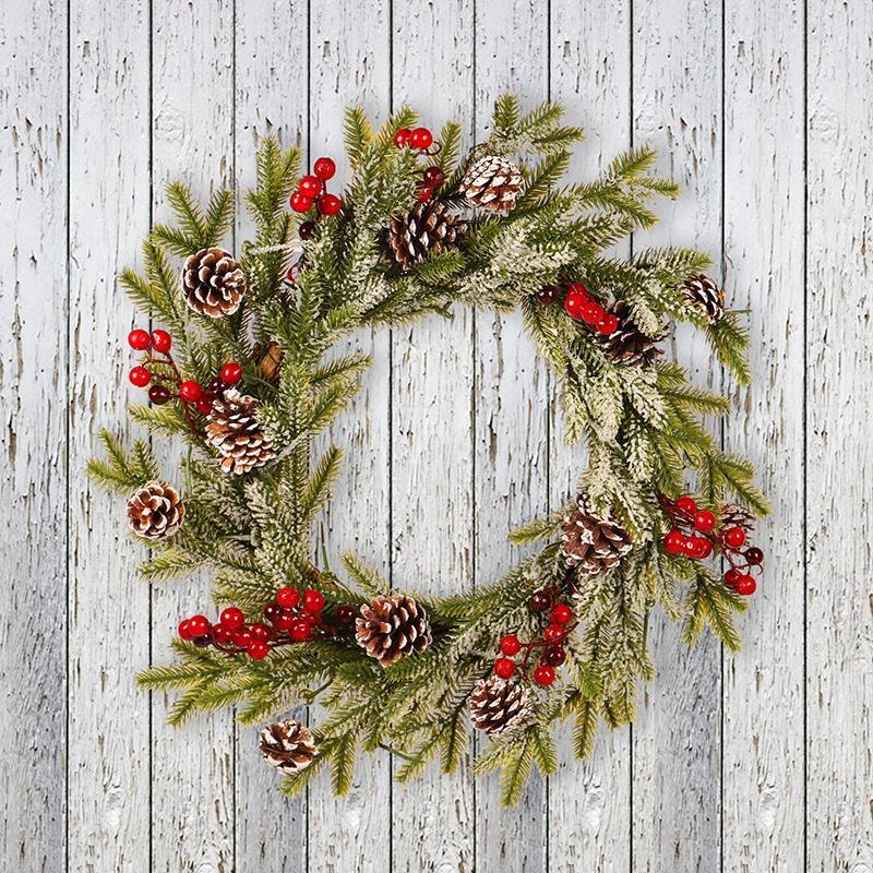 Dekorative Blumen Kränze Party Flocking Anhänger Ornament Weiß Mit Frost Klebrig PE Pine Cone und rote Fruchtgirlande