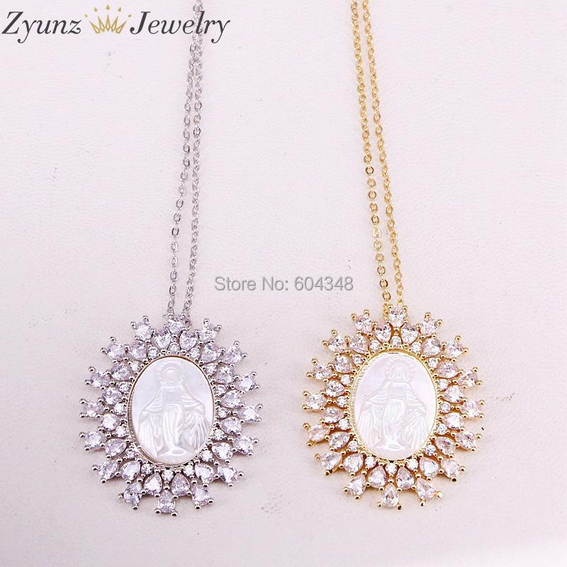 Pendant Necklaces 5 Strands ZYZ323-8868 Gold /Silver Color Crystal Zircona Virgin Mary Pendant, Mother Of Pearl Shell Necklace