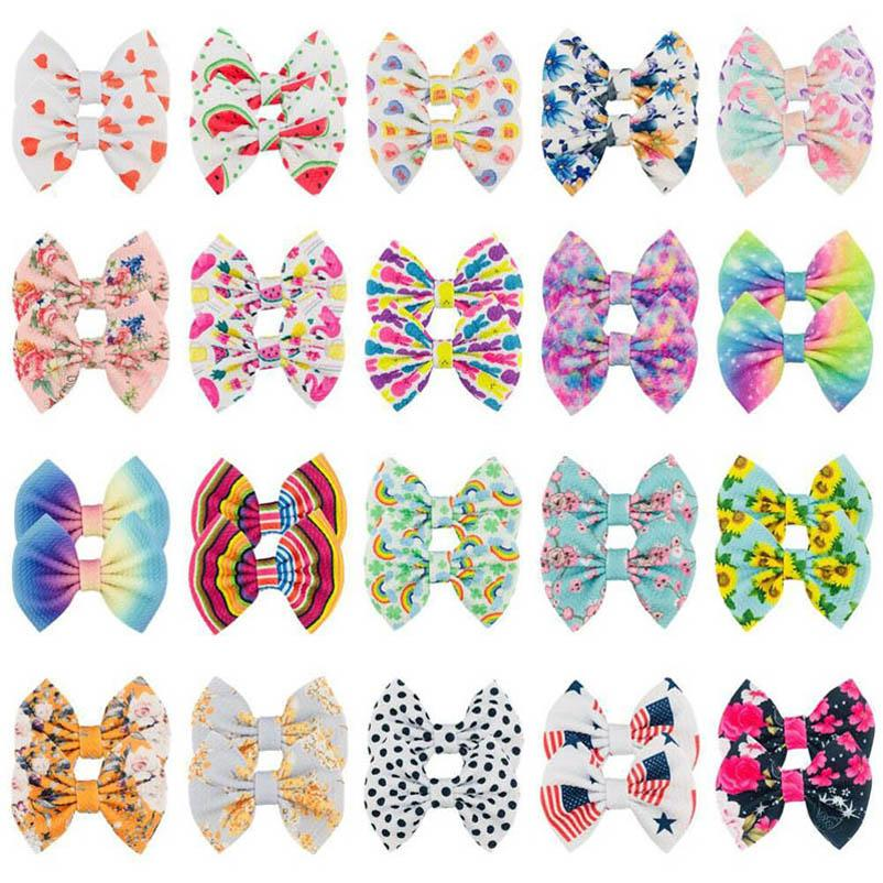 Baby Hair Accessories Pins Bb Clip Barrettes Clips Things Childrens 5Inch Bows Double-Deck Bowknot Rainbow Flower Dots Cartoon B5414
