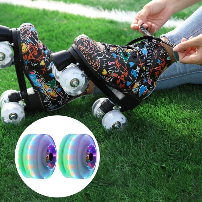 Bike Lights 2pcs PU Wheels Luminous Roller Skating Skates Accessories With Bearing