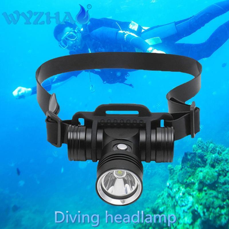 헤드 램프 다이빙 헤드 램프 LED L2 램프 비즈 방수 헤드 라이트 사용 18650 배터리 조명 Spearfishing 토치