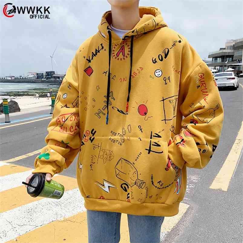WWKK HARAJUKU Sweat Sweat Sweatshirt graphique Graffiti Hip Hop Streetwear Sweat à capuche en coton Automne Hiver Pull Sweats à capuche 210728