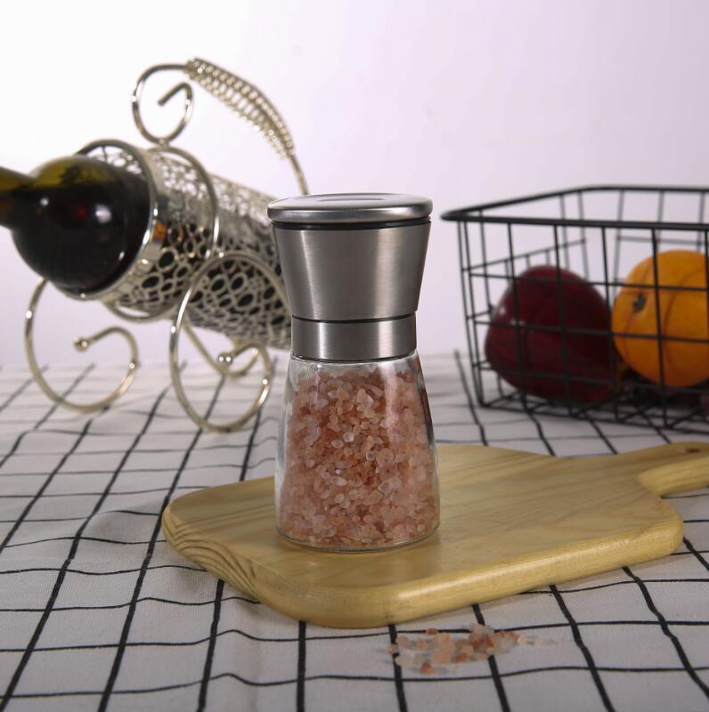 Moedor de pimenta moinho de aço inoxidável de aço inoxidável sal de vidro portátil muller molho de especiarias home cozinha ferramenta ffa4332
