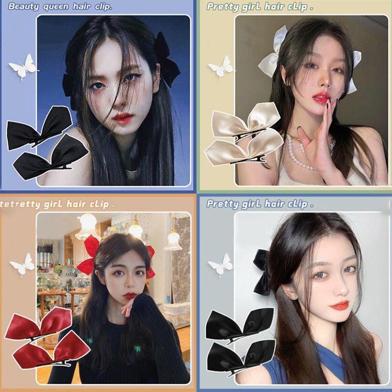 2pcs Noir Ruban White Cheveux Arcs Clips Vintage Bowknot Côté Pince à cheveux Cute Girls Barrettes Coiffure Coiffure Accessoires pour femmes