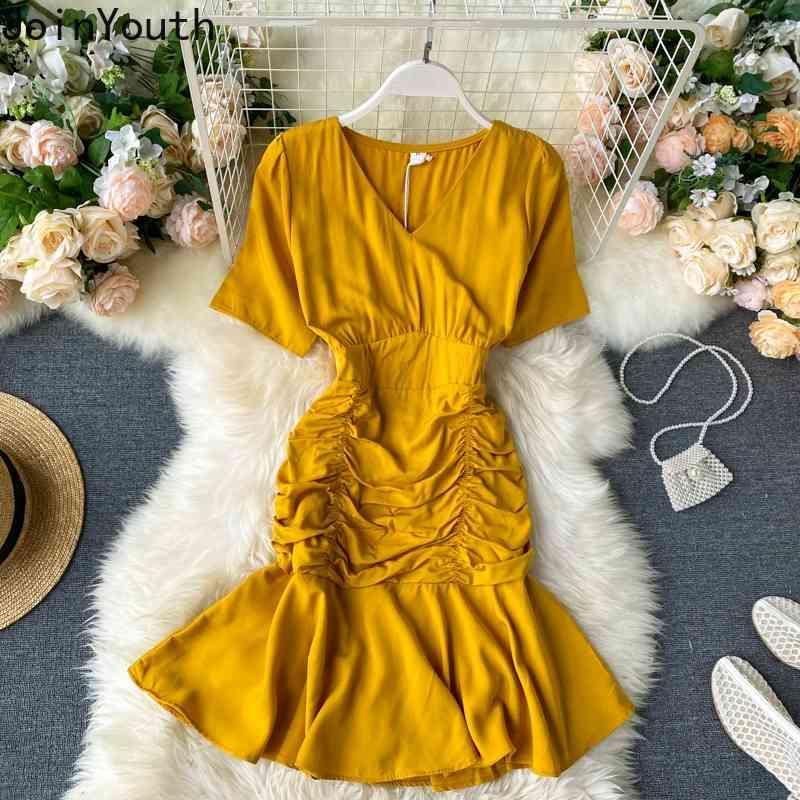 JoinDouth Bodycon Bodycon Dress Dress Summer Donne Vestiti Slim Fit Vita Alta V-Neck Signore Abiti Abiti eleganti Vestidos Verano 7A015 210423