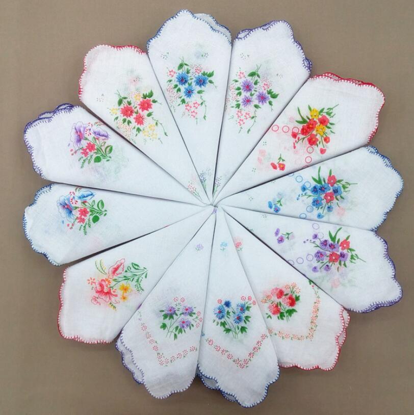 코튼 손수건 꽃 수 놓은 패션 여성 손수건 꽃 레이디 hankies 미니 스퀘어 스카프 부티크 포켓 타월 GWC6852