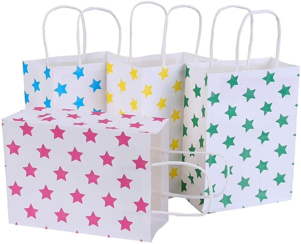 Gift Wrap 12 Pack Paper Bags Party Favor Recyclable Goodie For Birthdays, Weddings, Baby Showers,Shopping.Gold Foil Stars D