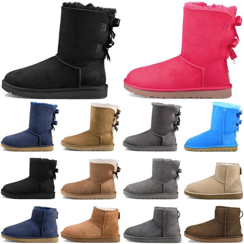 Designer women boots casual shoes classic snow fashion ankle short bow fur winter black Chestnut boot