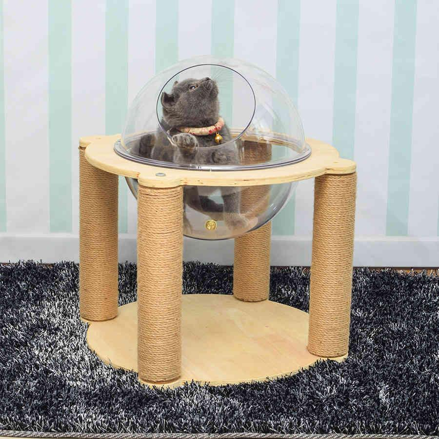 Gerade große Raumkapsel Kletterrahmen Villa Mehrstöckige Holzspringen Plattform Greifen Pfosten Katzenständer