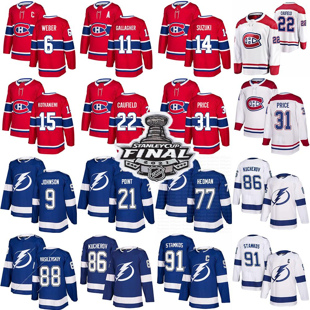 Montreal Canadiens Hockey Jerseys 22 Cole Caufield 14 Nick Suzuki 31 Carey Price Tampa Bay Lightning 91 Steven Stamkos 86 Kucherov 77 Hedman