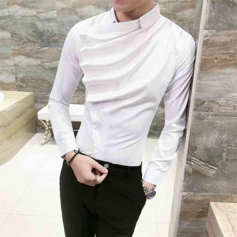 Sonbahar Erkekler Gömlek Moda Kore Slim Fit Elbise Gömlek Erkek Uzun Kollu Ön Katlama Tasarım Gece Kulübü Smokin Gömlek Erkekler 3XL-M 210323