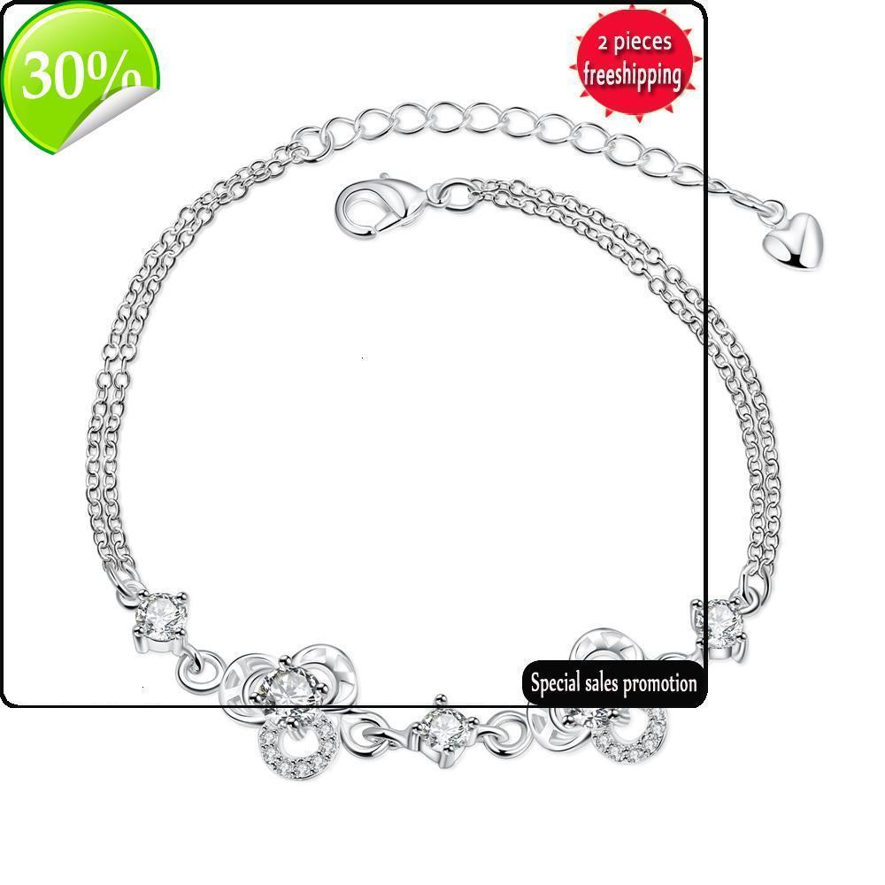 Gioielli in argento alla moda popolare in Giappone e Corea del Sud Little Fresh Sweet Dolce Clover Bracciale da donna SPH005-B SPH005