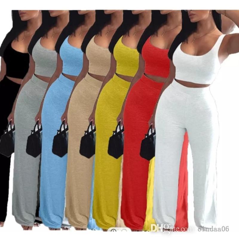 Artı Boyutu Kadın Giyim Moda Eşofman Iki Parçalı Kolsuz Pantolon Set Yelek + Pantolon Eğlence Spor Eğlence Kıyafetler