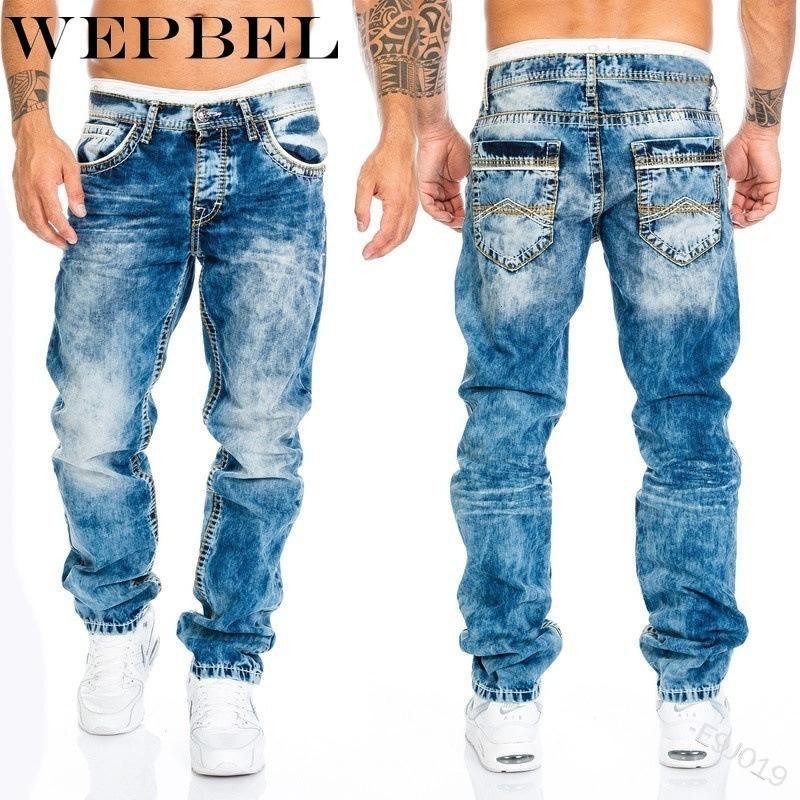 Jeans da uomo Wepbel Fashion Casual Pantaloni a figura intera Pantaloni da uomo Straight Men's Hip-Hop Cowboy Jeans