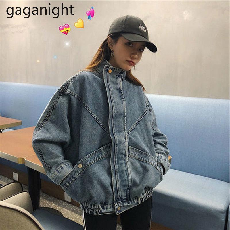 Mulheres vintage jaqueta jaqueta chique estudante coreano jean casaco outwear primavera outono moda solta tops bolso grande plus tamanho 210426