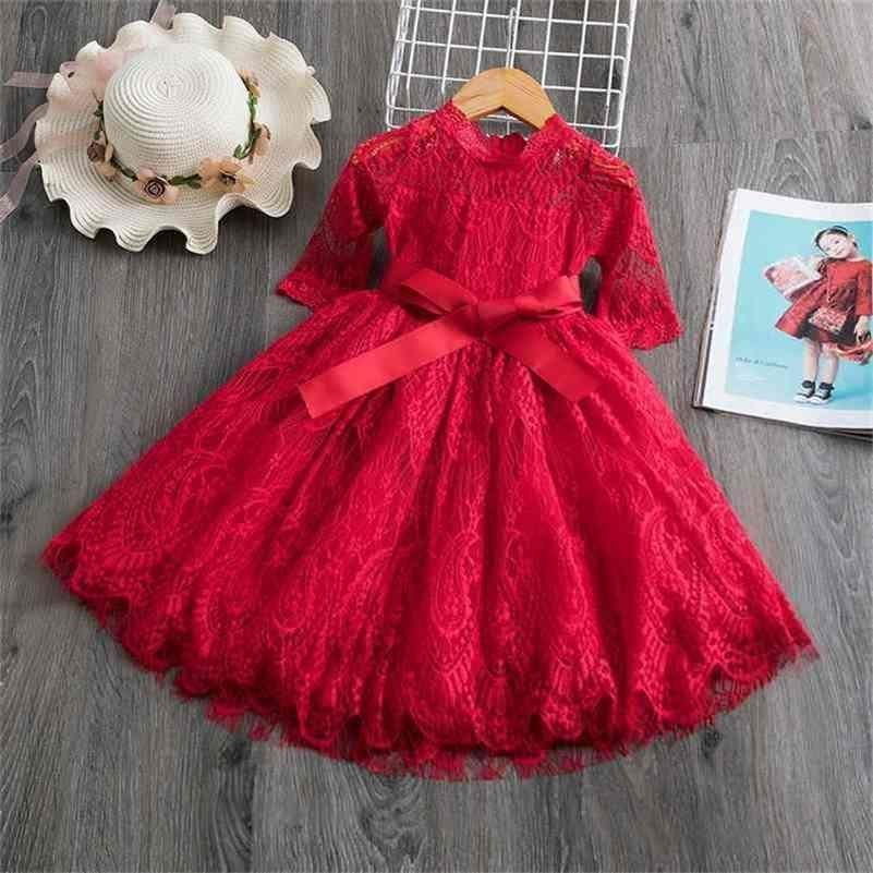 Lace Christmas Dress Girls New Year Costume Princess Wedding Party 3-8Y Children Ceremony Prom Gown 210427