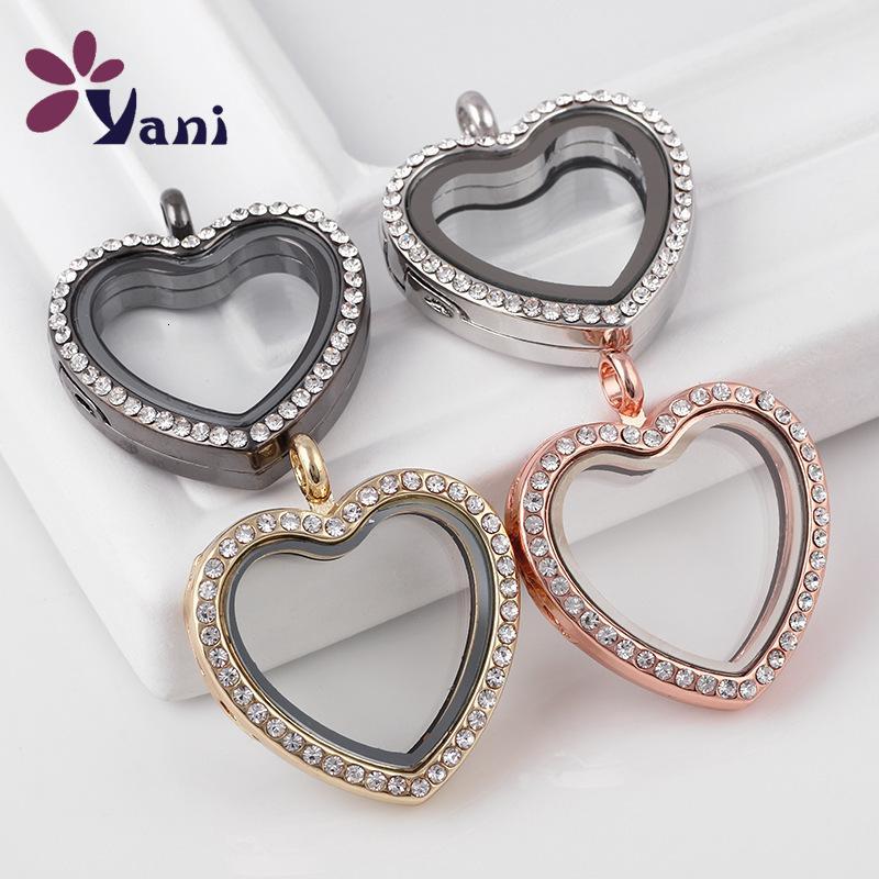 Caja de aleación Colgante Collar Lockable Diamante Inlaid En forma de corazón Joyería