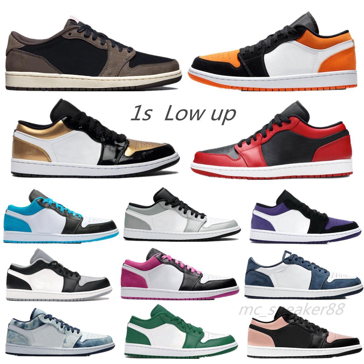Männer Frauen Jumpman Schuhe 1s Low Runner Shoe Traviss Scottss X Fragment University Blau Gold Waschen Denim Court UNC 1 Trainer Sport Sneakers Größe 36-45