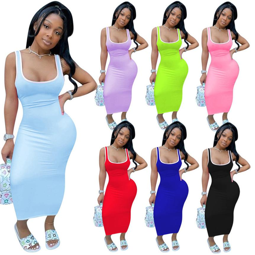 Femmes Casual Tank Tapot Robes Sexy Maxi Jupes Mode Summer Vêtements Sangle Sans manches Couleur Solid Skinny Robe Plus Taille S-2XL 4670
