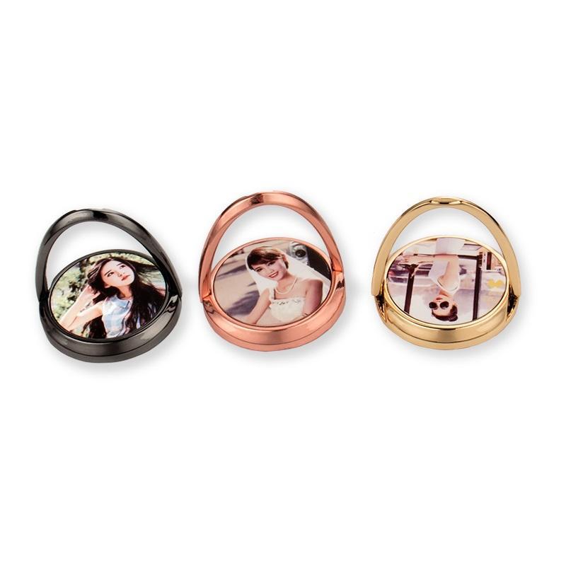 Sublimação de metal em branco titular titular anel móvel em branco personalizado redondo forma diy transferência de calor montagem para iPhone samsung universal